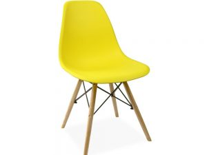 Silla tower madera y polipropileno amarillo
