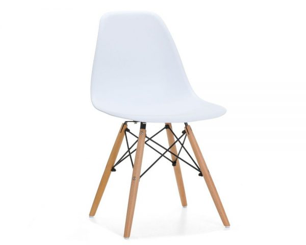 Silla tower madera y polipropileno blanco